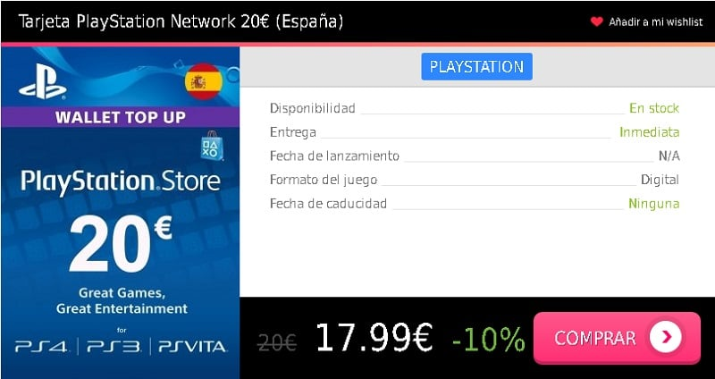 Tarjeta prepago PSN 20 eur España Press Start