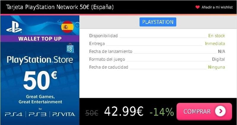 Tarjeta prepago PSN 50 eur España Press Start