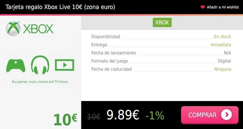 Tarjeta regalo Xbox Live 10 eur euro Press Start