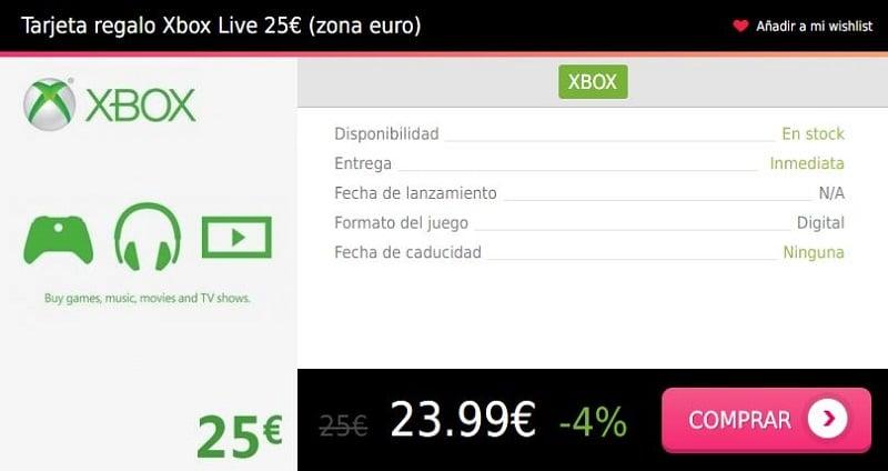 Tarjeta regalo Xbox Live 25 eur euro Press Start
