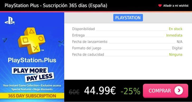 Suscripcion PS Plus 1 año España Press Start