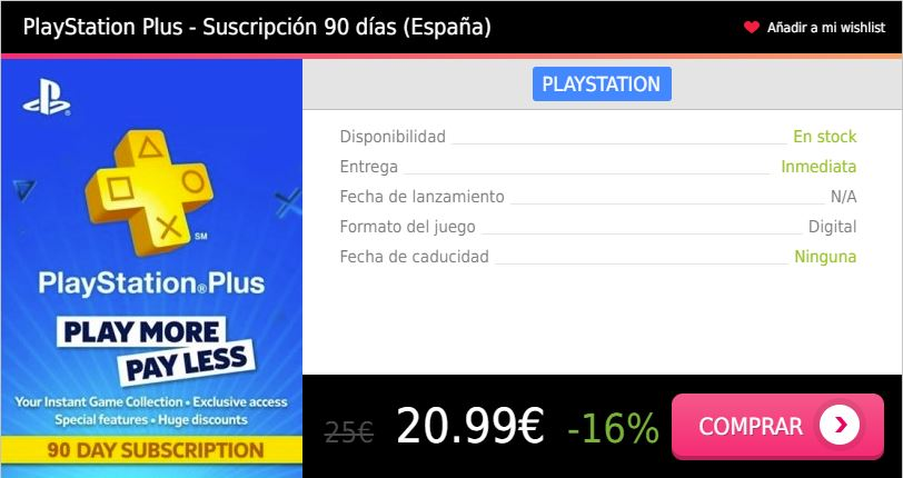 Suscripcion PS Plus 3 meses España Press Start