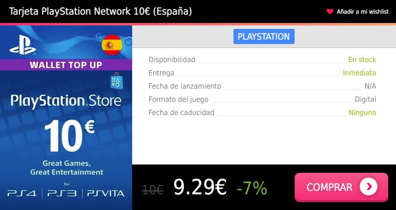 Tarjeta prepago PS4 10 eur España Press Start