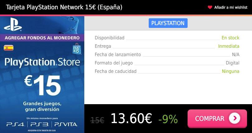 Tarjeta prepago PS4 15 eur España Press Start