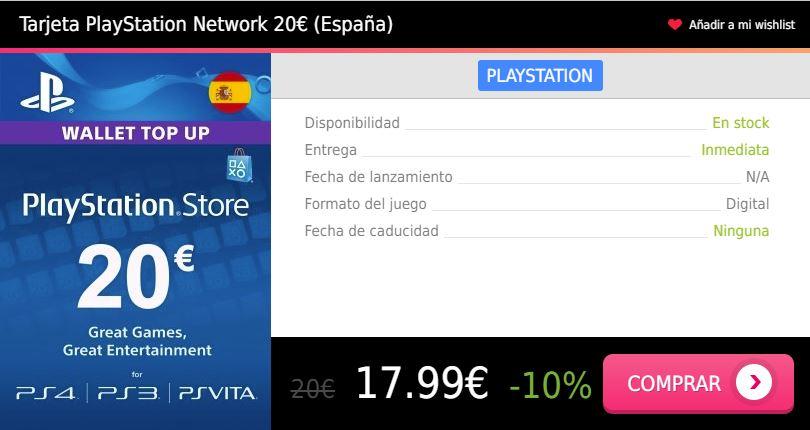 Tarjeta prepago PS4 20 eur España Press Start
