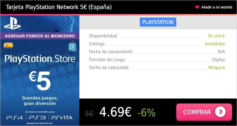 Tarjeta prepago PS4 5 eur España Press Start