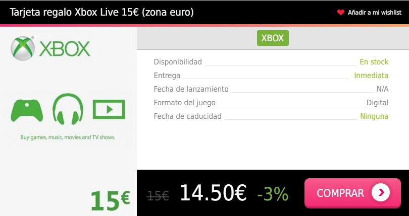 Tarjeta regalo Xbox Live 15 eur euro Press Start