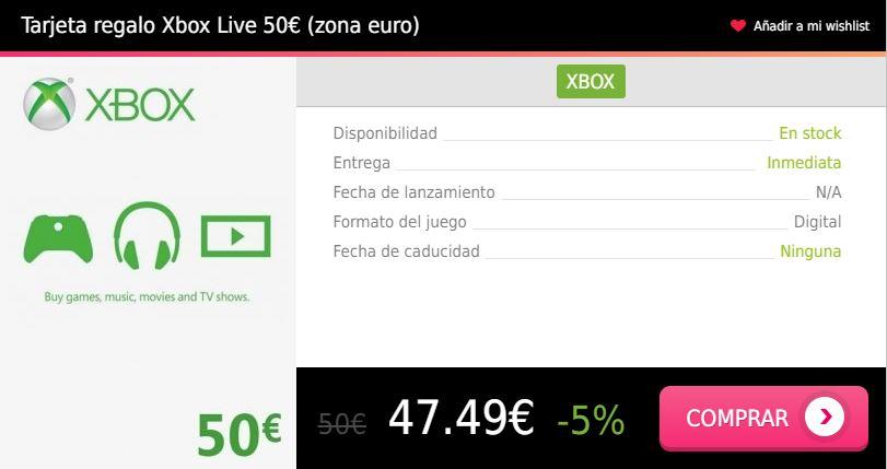 Tarjeta regalo Xbox Live 50 eur euro Press Start