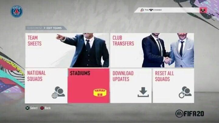 Menu FIFA 20