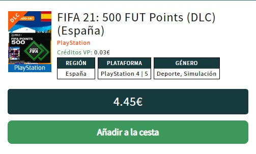 500 FUT Points PS4 FIFA 21 VidaPlayer