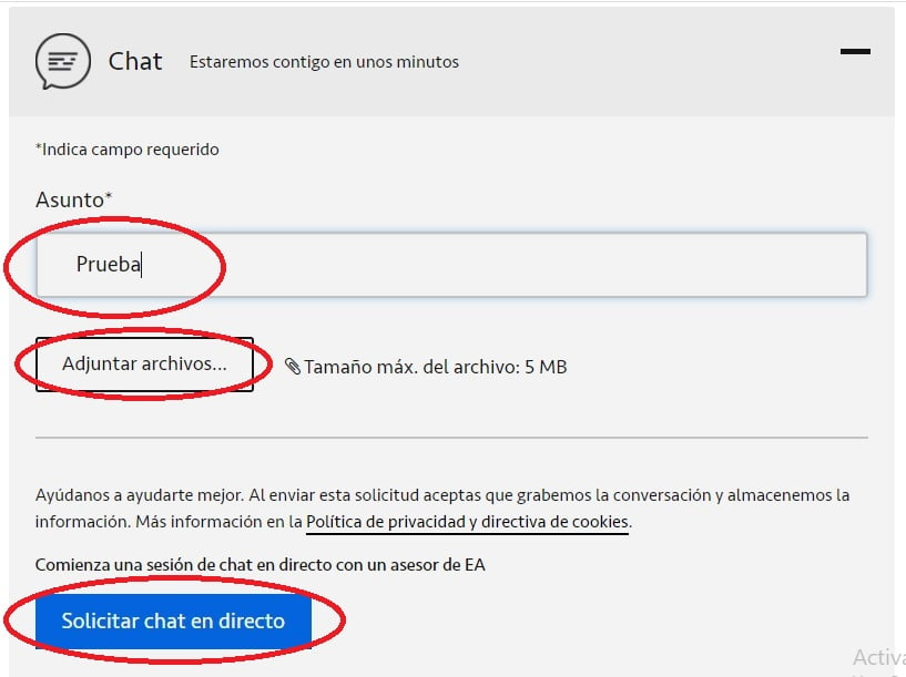 Chat Directo Incidencia
