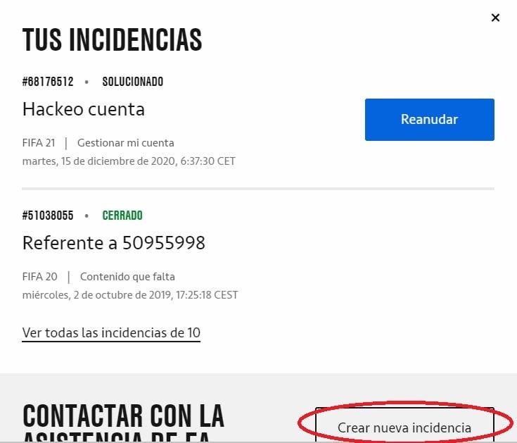 Crear Nueva Incidencia EA Help